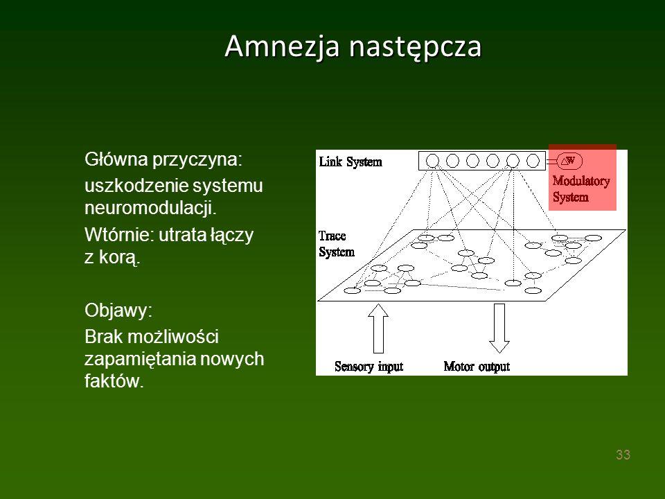 33 Amnezja następcza Główna przyczyna: uszkodzenie systemu neuromodulacji.