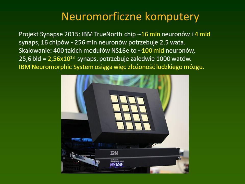 Neuromorficzne komputery Projekt Synapse 2015: IBM TrueNorth chip  16 mln neuronów i 4 mld synaps, 16 chipów  256 mln neuronów potrzebuje 2.5 wata.