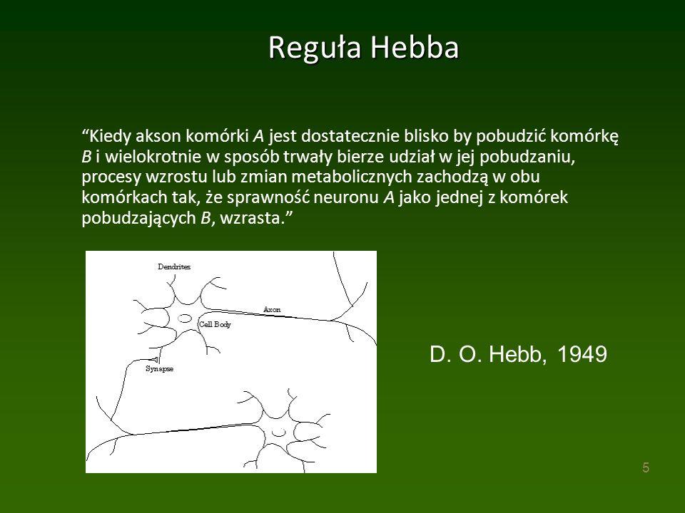 5 Reguła Hebba Kiedy akson komórki A jest dostatecznie blisko by pobudzić komórkę B i wielokrotnie w sposób trwały bierze udział w jej pobudzaniu, procesy wzrostu lub zmian metabolicznych zachodzą w obu komórkach tak, że sprawność neuronu A jako jednej z komórek pobudzających B, wzrasta. D.