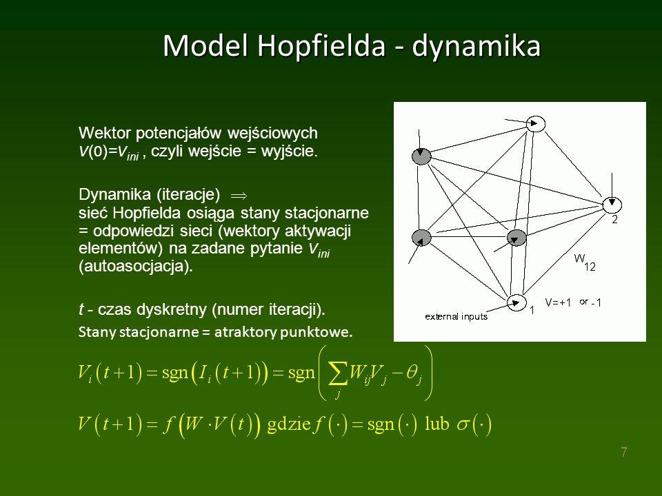 7 Model Hopfielda - dynamika Wektor potencjałów wejściowych V ( 0 )= V ini, czyli wejście = wyjście.