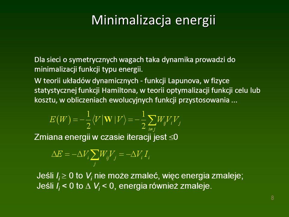 8 Minimalizacja energii Dla sieci o symetrycznych wagach taka dynamika prowadzi do minimalizacji funkcji typu energii.