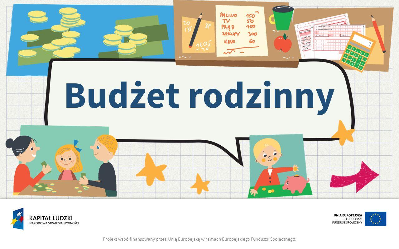 Budżet rodzinny Projekt współfinansowany przez Unię Europejską w ramach Europejskiego Funduszu Społecznego.