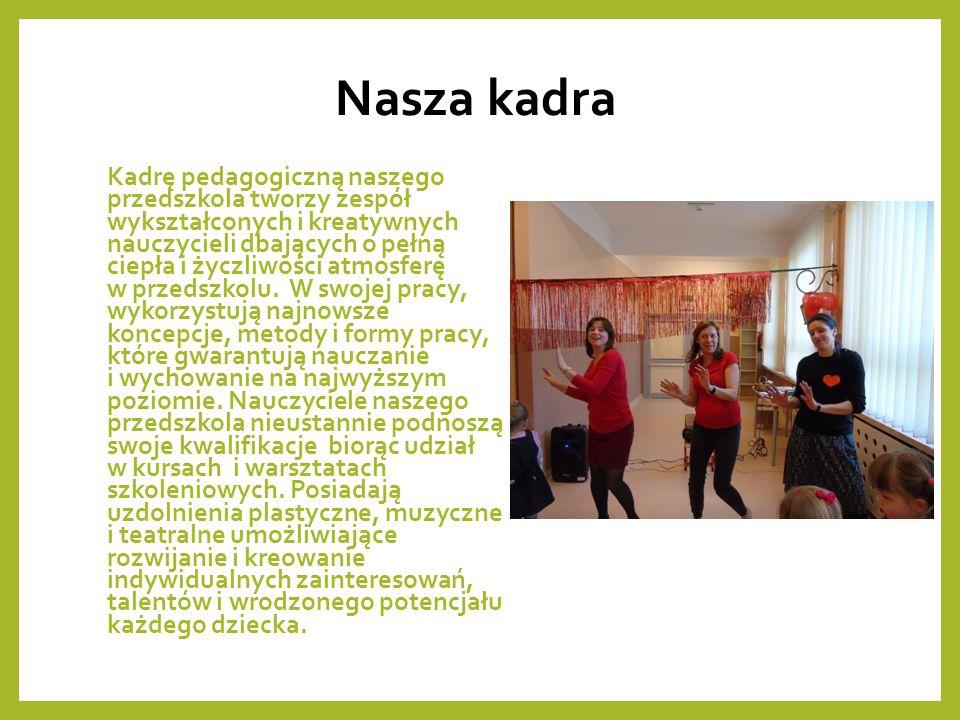 Nasza kadra Kadrę pedagogiczną naszego przedszkola tworzy zespół wykształconych i kreatywnych nauczycieli dbających o pełną ciepła i życzliwości atmosferę w przedszkolu.