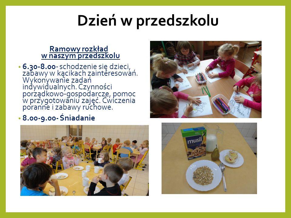 Dzień w przedszkolu Ramowy rozkład w naszym przedszkolu 6.30-8.00- schodzenie się dzieci, zabawy w kącikach zainteresowań.