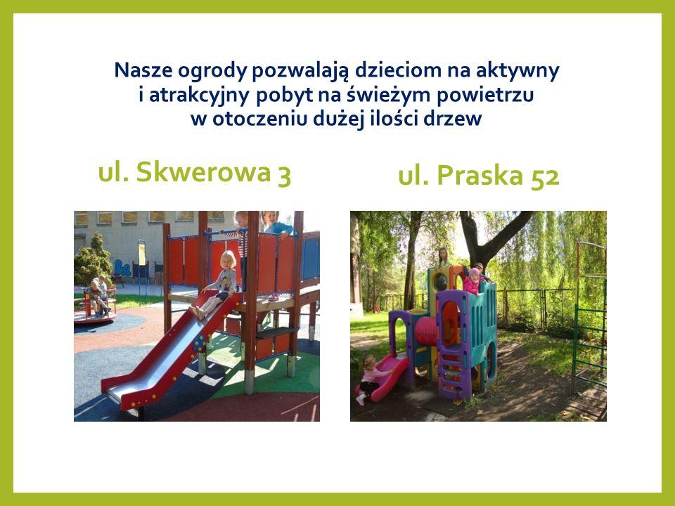 Nasze ogrody pozwalają dzieciom na aktywny i atrakcyjny pobyt na świeżym powietrzu w otoczeniu dużej ilości drzew ul.