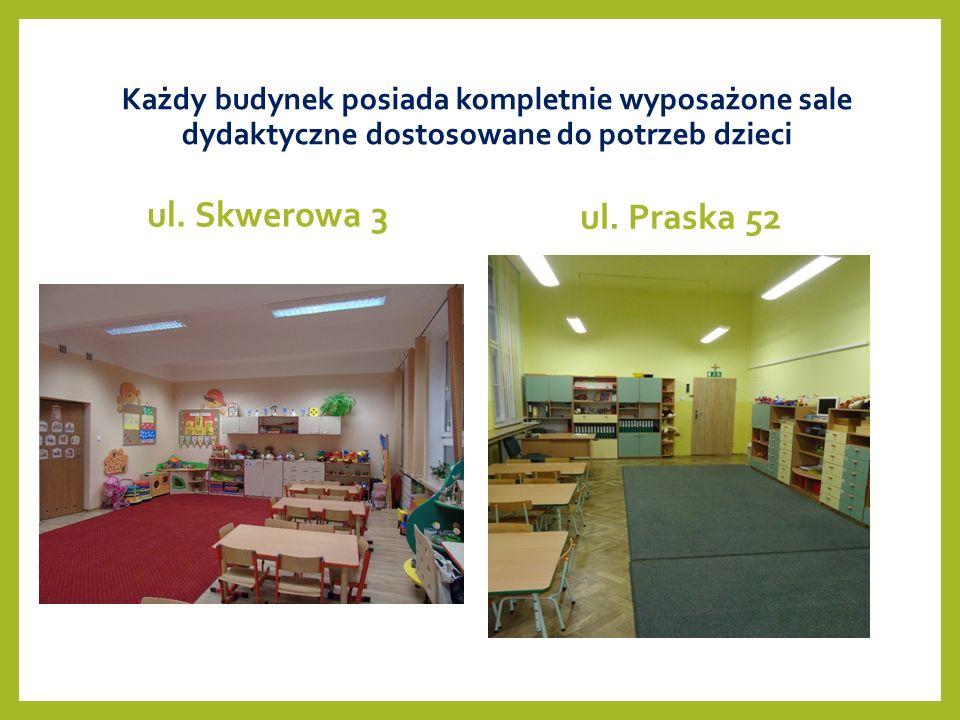 Każdy budynek posiada kompletnie wyposażone sale dydaktyczne dostosowane do potrzeb dzieci ul.