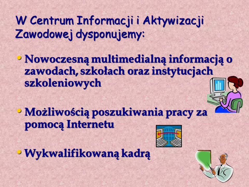 W Centrum Informacji i Aktywizacji Zawodowej dysponujemy: Nowoczesną multimedialną informacją o zawodach, szkołach oraz instytucjach szkoleniowych Nowoczesną multimedialną informacją o zawodach, szkołach oraz instytucjach szkoleniowych Możliwością poszukiwania pracy za pomocą Internetu Możliwością poszukiwania pracy za pomocą Internetu Wykwalifikowaną kadrą Wykwalifikowaną kadrą