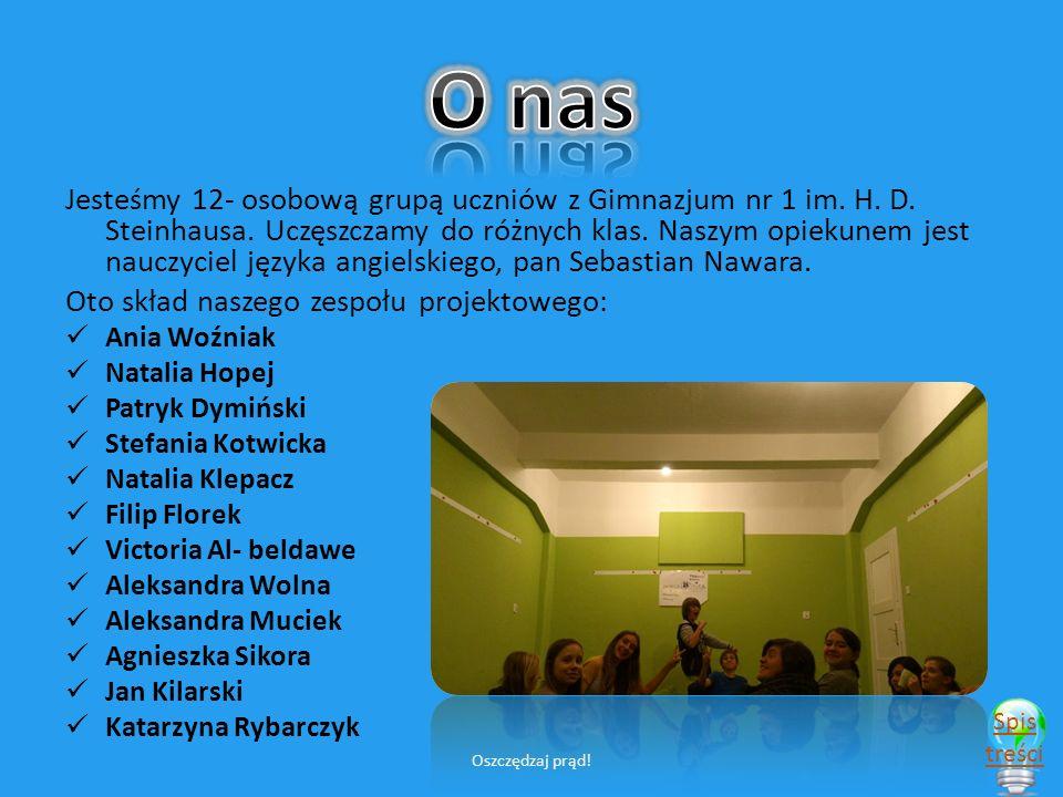 Jesteśmy 12- osobową grupą uczniów z Gimnazjum nr 1 im.