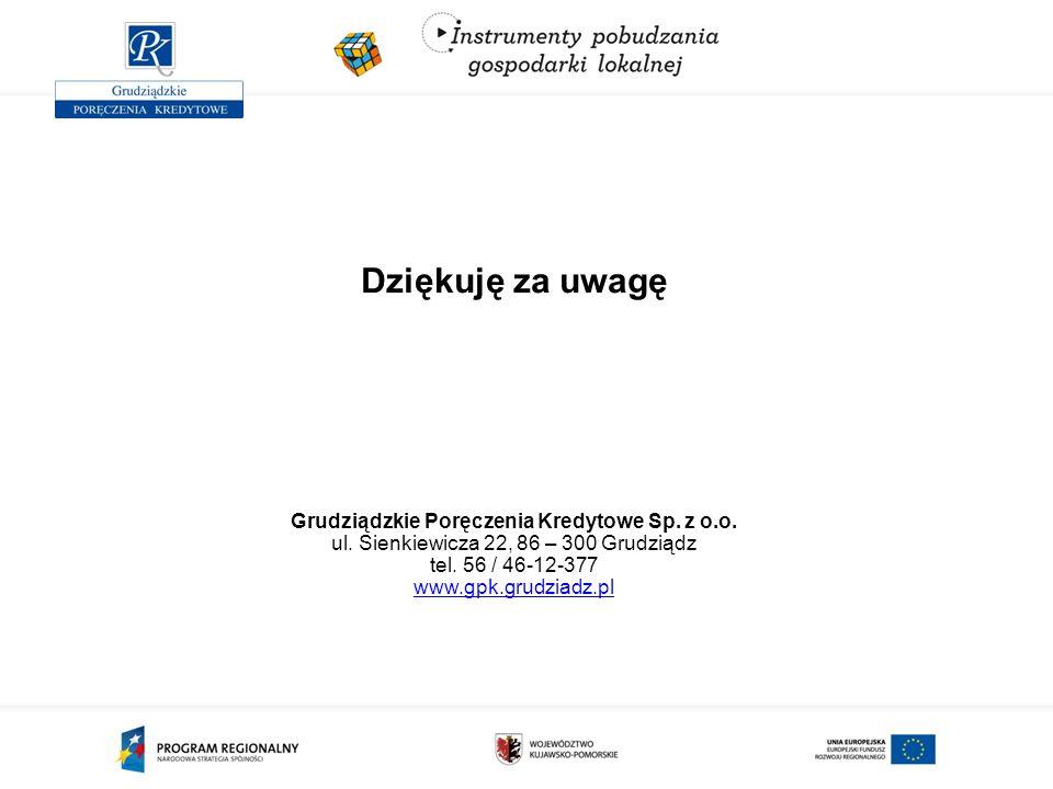 Dziękuję za uwagę Grudziądzkie Poręczenia Kredytowe Sp. z o.o. ul. Sienkiewicza 22, 86 – 300 Grudziądz tel. 56 / 46-12-377 www.gpk.grudziadz.pl