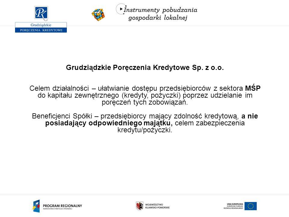 Grudziądzkie Poręczenia Kredytowe Sp. z o.o. Celem działalności – ułatwianie dostępu przedsiębiorców z sektora MŚP do kapitału zewnętrznego (kredyty,