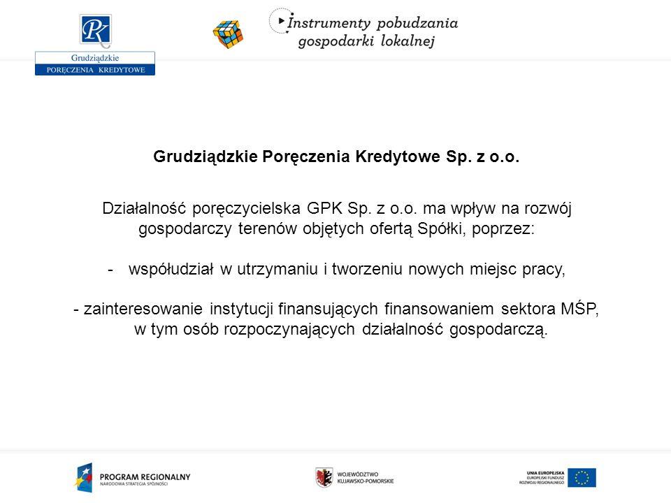 Grudziądzkie Poręczenia Kredytowe Sp. z o.o. Działalność poręczycielska GPK Sp. z o.o. ma wpływ na rozwój gospodarczy terenów objętych ofertą Spółki,