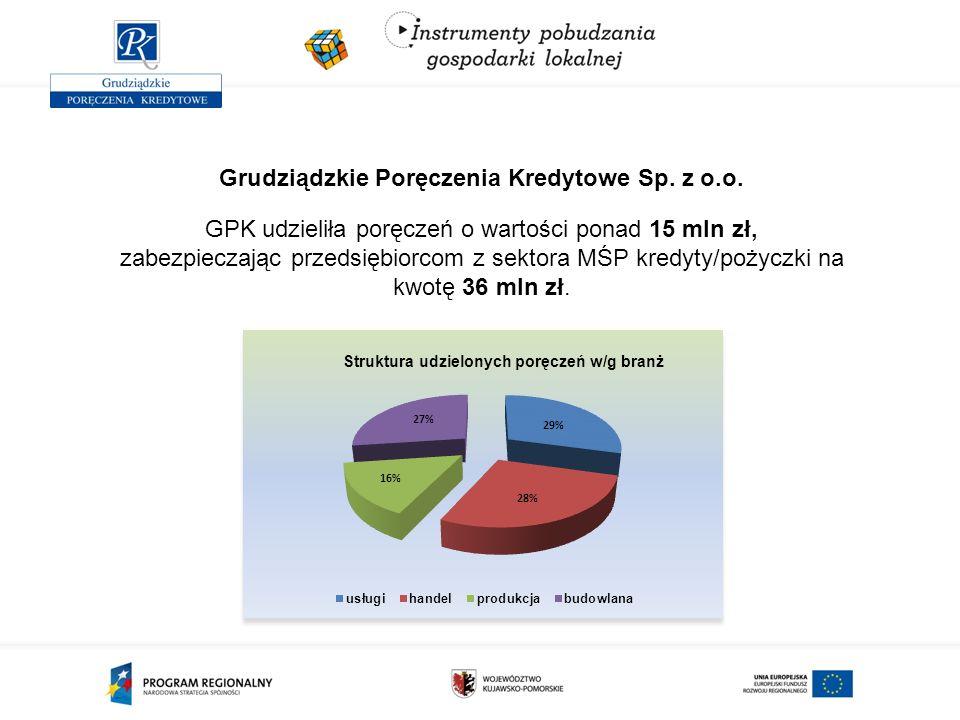 Grudziądzkie Poręczenia Kredytowe Sp. z o.o. GPK udzieliła poręczeń o wartości ponad 15 mln zł, zabezpieczając przedsiębiorcom z sektora MŚP kredyty/p
