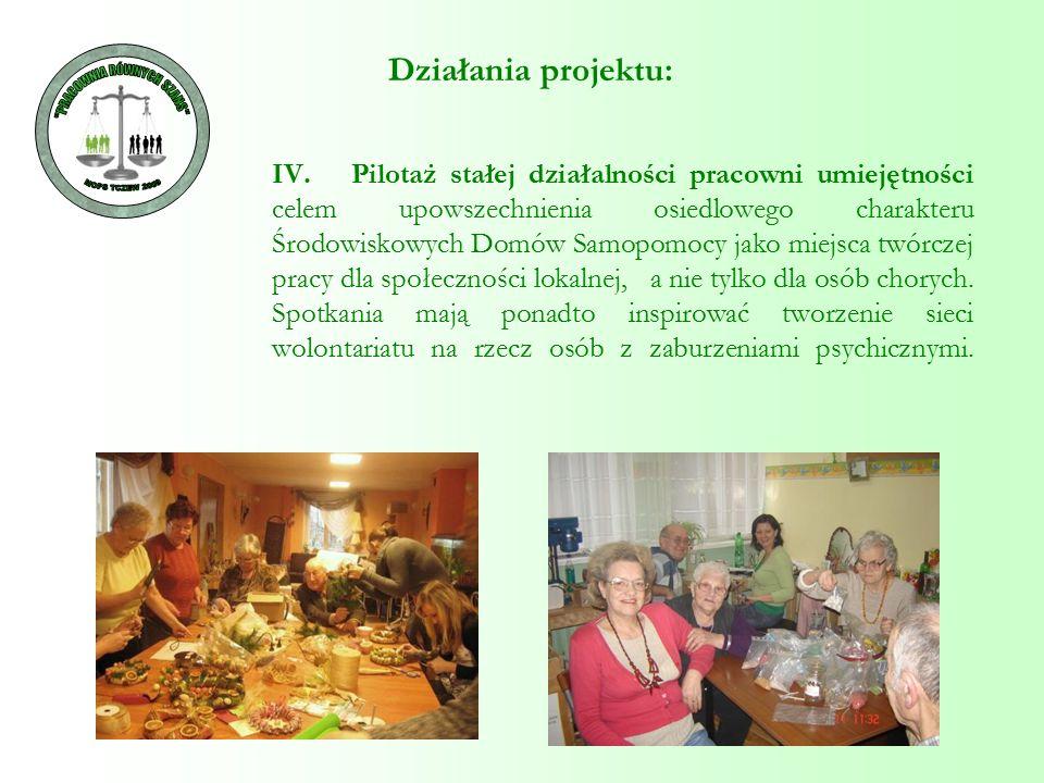 IV. Pilotaż stałej działalności pracowni umiejętności celem upowszechnienia osiedlowego charakteru Środowiskowych Domów Samopomocy jako miejsca twórcz