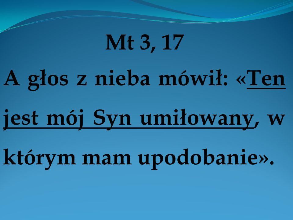 Mt 3, 17 A głos z nieba mówił: «Ten jest mój Syn umiłowany, w którym mam upodobanie».