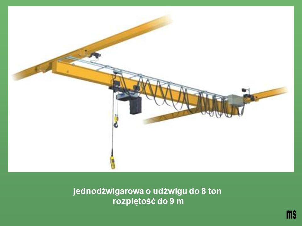 jednodźwigarowa o udźwigu do 8 ton rozpiętość do 9 m
