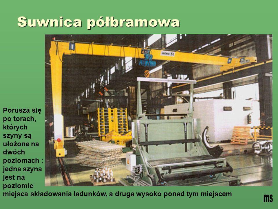 Suwnica półbramowa Porusza się po torach, których szyny są ułożone na dwóch poziomach : jedna szyna jest na poziomie miejsca składowania ładunków, a druga wysoko ponad tym miejscem