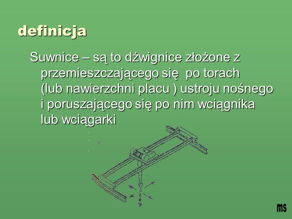 definicja Suwnice – są to dźwignice złożone z przemieszczającego się po torach (lub nawierzchni placu ) ustroju nośnego i poruszającego się po nim wciągnika lub wciągarki
