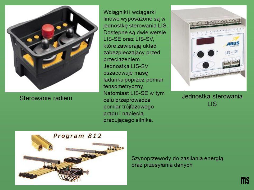 Wciągniki i wciągarki linowe wyposażone są w jednostkę sterowania LIS.