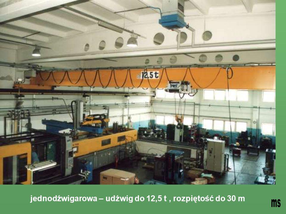 jednodźwigarowa – udźwig do 12,5 t, rozpiętość do 30 m