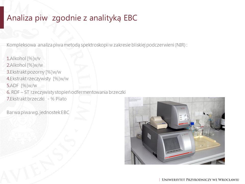 Analiza piw zgodnie z analityką EBC Kompleksowa analiza piwa metodą spektroskopii w zakresie bliskiej podczerwieni (NIR) : 1.Alkohol [%]v/v 2.Alkohol