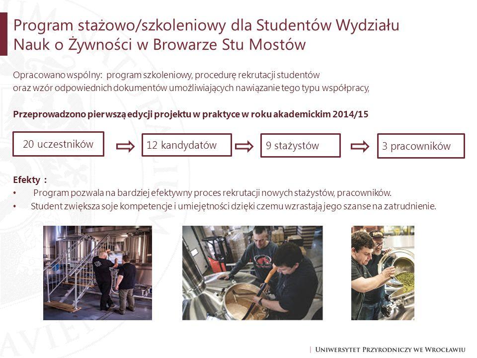 Opracowano wspólny: program szkoleniowy, procedurę rekrutacji studentów oraz wzór odpowiednich dokumentów umożliwiających nawiązanie tego typu współpr