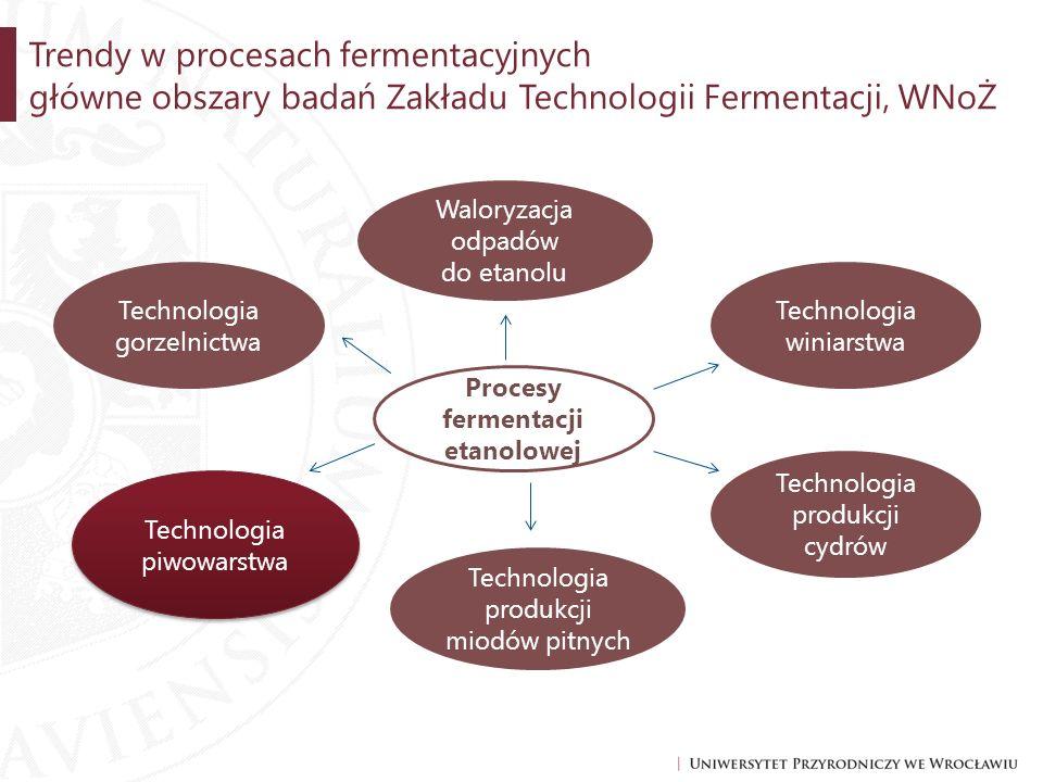 Trendy w procesach fermentacyjnych główne obszary badań Zakładu Technologii Fermentacji, WNoŻ Technologia piwowarstwa Technologia gorzelnictwa Waloryz