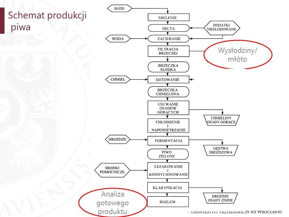 Schemat produkcji piwa Wysłodziny/ młóto Analiza gotowego produktu
