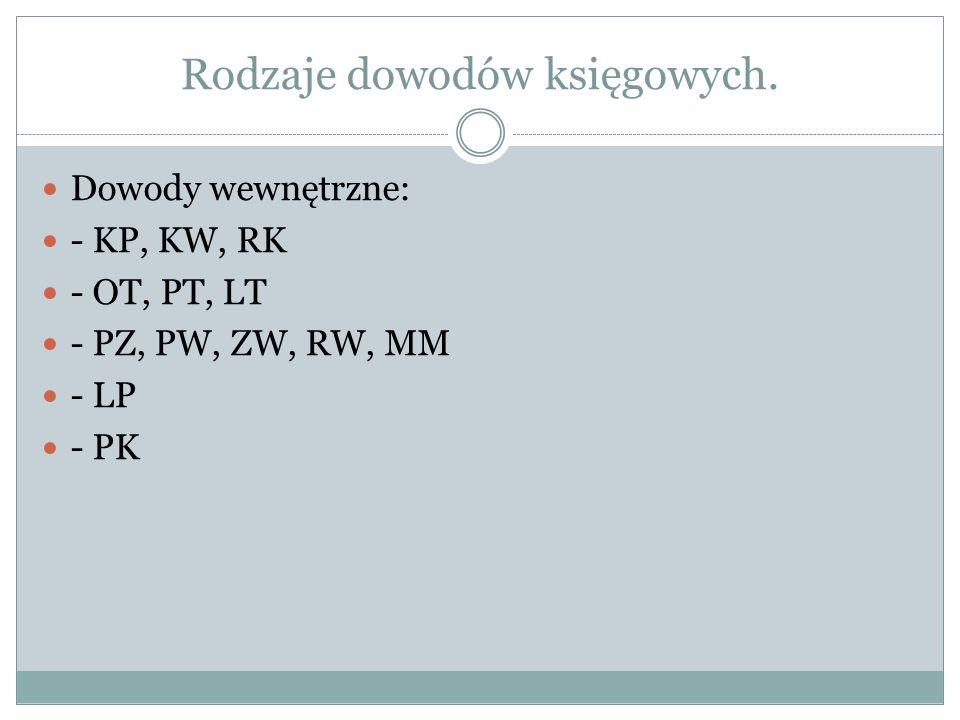 Rodzaje dowodów księgowych. Dowody wewnętrzne: - KP, KW, RK - OT, PT, LT - PZ, PW, ZW, RW, MM - LP - PK