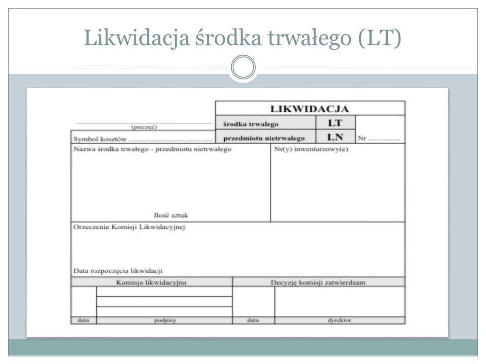 Likwidacja środka trwałego (LT)