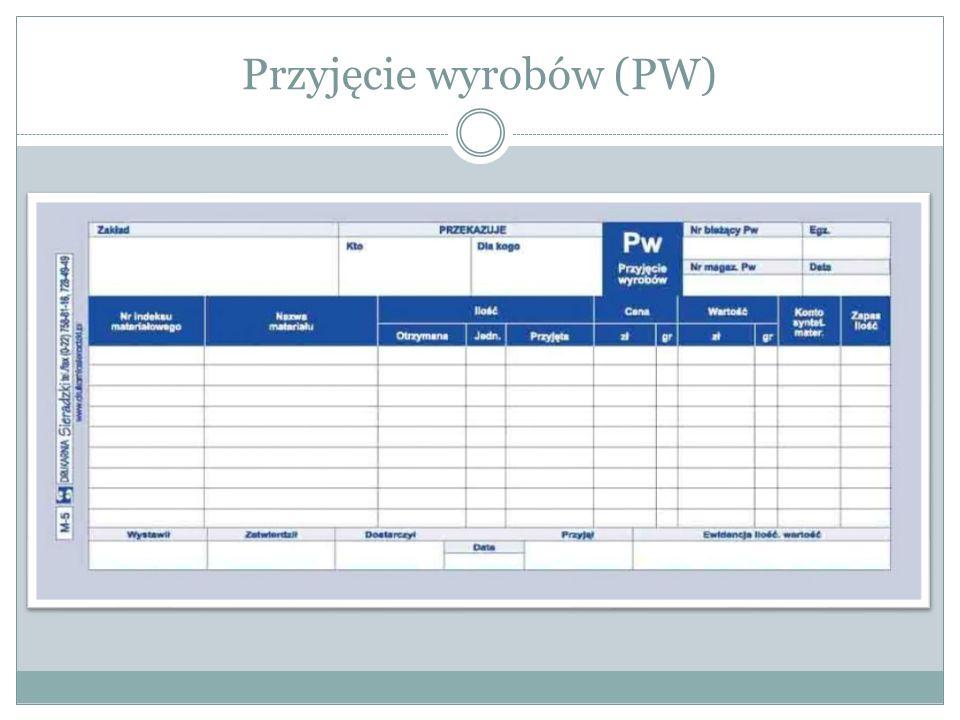 Przyjęcie wyrobów (PW)
