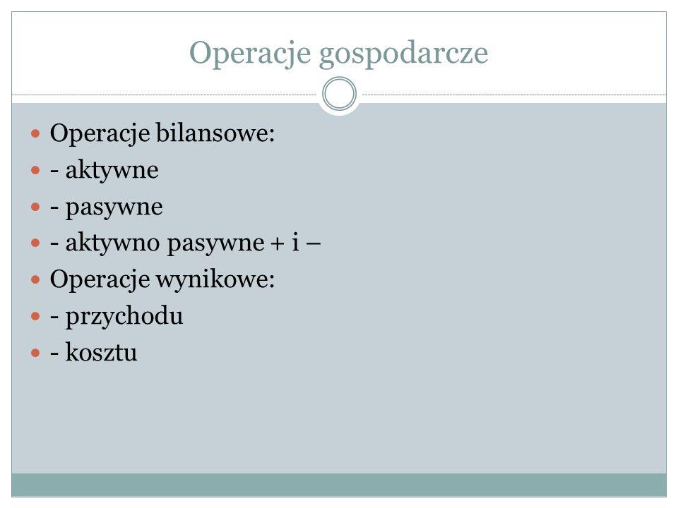 Operacje gospodarcze Operacje bilansowe: - aktywne - pasywne - aktywno pasywne + i – Operacje wynikowe: - przychodu - kosztu
