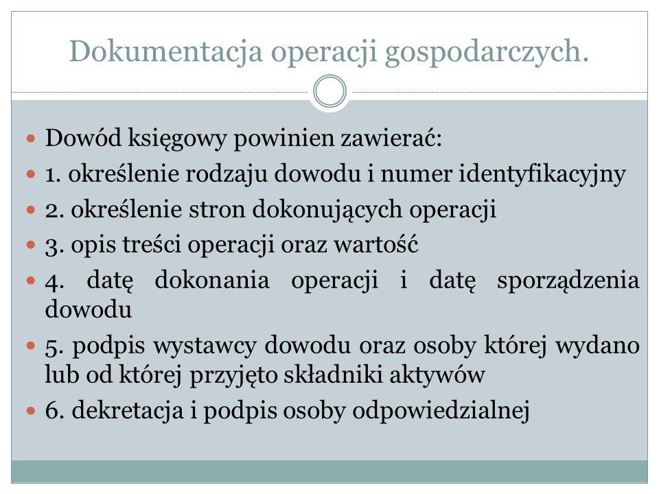 Dokumentacja operacji gospodarczych. Dowód księgowy powinien zawierać: 1. określenie rodzaju dowodu i numer identyfikacyjny 2. określenie stron dokonu