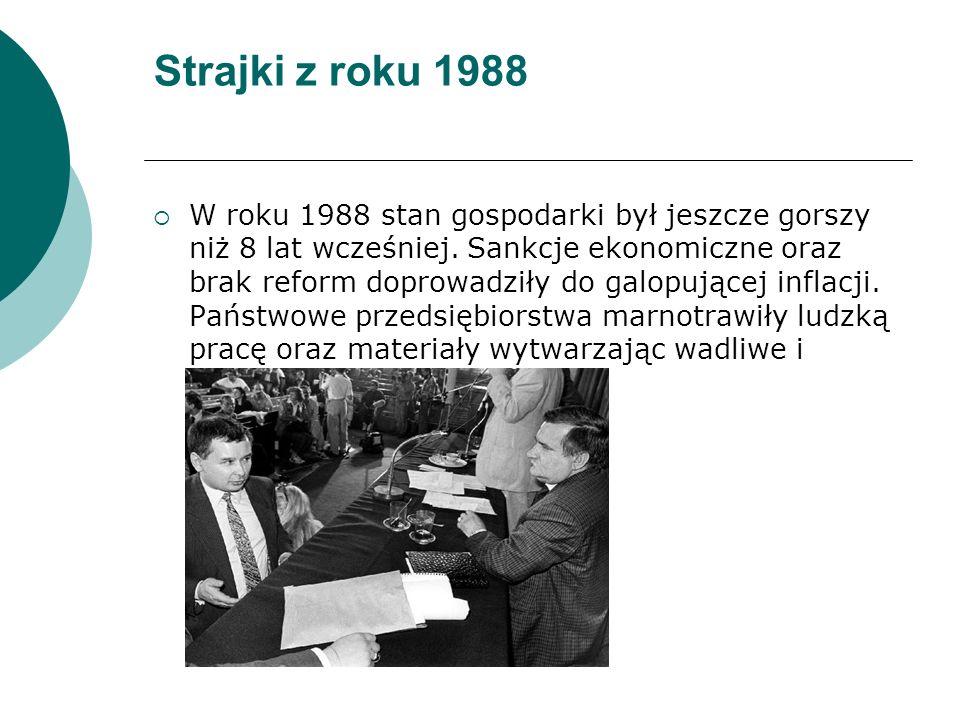 Strajki z roku 1988  W roku 1988 stan gospodarki był jeszcze gorszy niż 8 lat wcześniej.