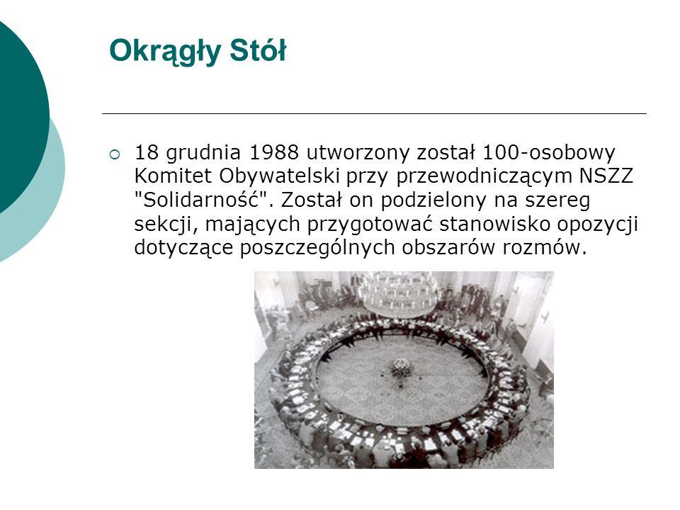 Okrągły Stół  18 grudnia 1988 utworzony został 100-osobowy Komitet Obywatelski przy przewodniczącym NSZZ Solidarność .