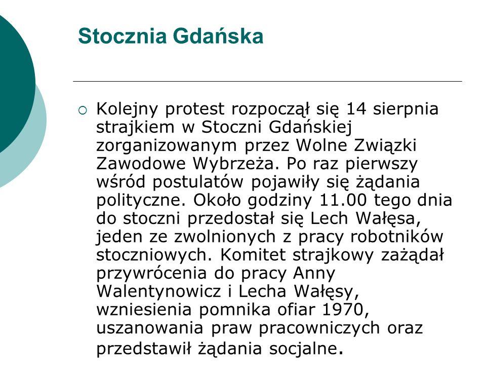 Stocznia Gdańska  Kolejny protest rozpoczął się 14 sierpnia strajkiem w Stoczni Gdańskiej zorganizowanym przez Wolne Związki Zawodowe Wybrzeża.