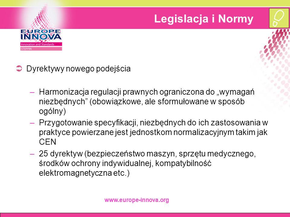 """www.europe-innova.org Legislacja i Normy  Dyrektywy nowego podejścia –Harmonizacja regulacji prawnych ograniczona do """"wymagań niezbędnych (obowiązkowe, ale sformułowane w sposób ogólny) –Przygotowanie specyfikacji, niezbędnych do ich zastosowania w praktyce powierzane jest jednostkom normalizacyjnym takim jak CEN –25 dyrektyw (bezpieczeństwo maszyn, sprzętu medycznego, środków ochrony indywidualnej, kompatybilność elektromagnetyczna etc.)"""