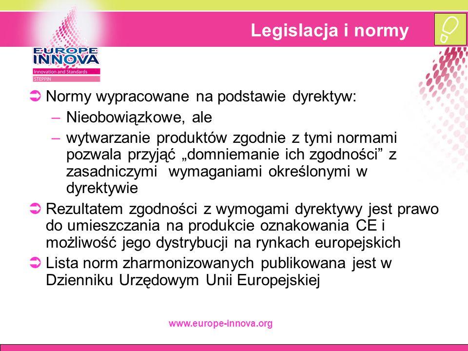 """www.europe-innova.org Legislacja i normy  Normy wypracowane na podstawie dyrektyw: –Nieobowiązkowe, ale –wytwarzanie produktów zgodnie z tymi normami pozwala przyjąć """"domniemanie ich zgodności z zasadniczymi wymaganiami określonymi w dyrektywie  Rezultatem zgodności z wymogami dyrektywy jest prawo do umieszczania na produkcie oznakowania CE i możliwość jego dystrybucji na rynkach europejskich  Lista norm zharmonizowanych publikowana jest w Dzienniku Urzędowym Unii Europejskiej"""
