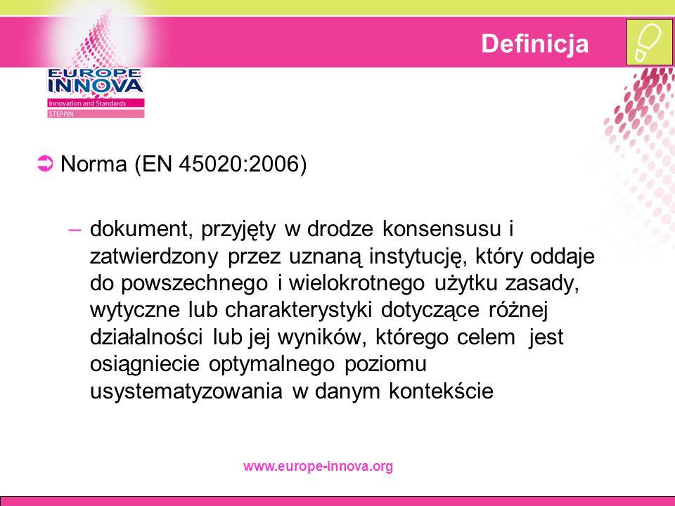 www.europe-innova.org Typologia norm  Norma wyrobu –Określająca wymogi, które powinien spełniać produkt lub grupa produktów w celu zapewnienia ich funkcjonalności  Norma interfejsu –Określająca wymogi dotyczące kompatybilności wyrobów lub systemów w miejscach ich wzajemnego łączenia  Norma usługi –Określająca wymogi, które powinny być spełnione przez usługę w celu zapewnienia funkcjonalności tej usługi  Normy terminologiczne, normy badań/testów, normy procesów…