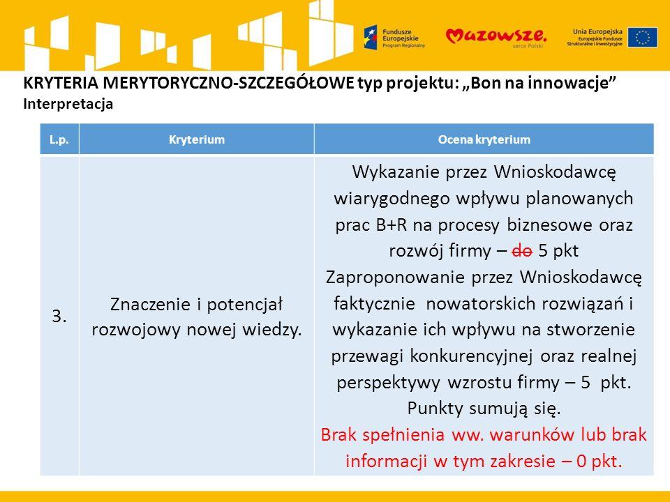 L.p.KryteriumOcena kryterium 3. Znaczenie i potencjał rozwojowy nowej wiedzy. Wykazanie przez Wnioskodawcę wiarygodnego wpływu planowanych prac B+R na