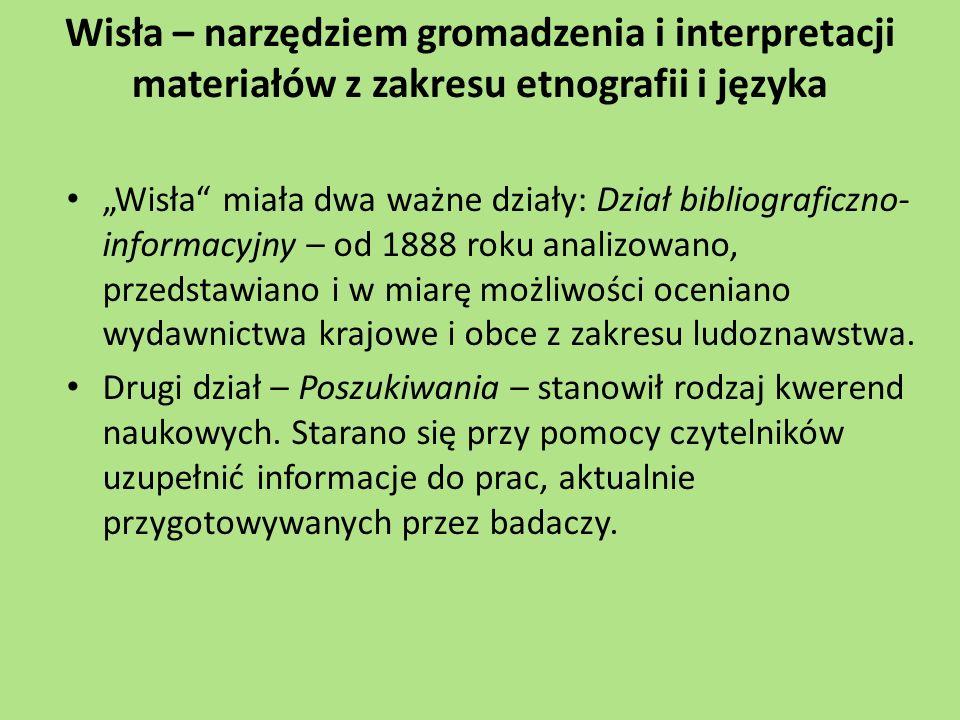 """Wisła – narzędziem gromadzenia i interpretacji materiałów z zakresu etnografii i języka """"Wisła"""" miała dwa ważne działy: Dział bibliograficzno- informa"""