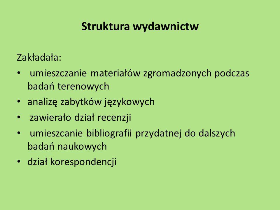 Struktura wydawnictw Zakładała: umieszczanie materiałów zgromadzonych podczas badań terenowych analizę zabytków językowych zawierało dział recenzji um