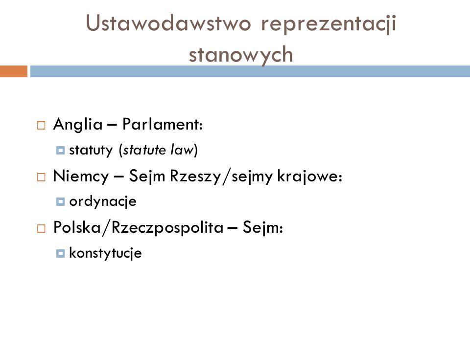 Ustawodawstwo reprezentacji stanowych  Anglia – Parlament:  statuty (statute law)  Niemcy – Sejm Rzeszy/sejmy krajowe:  ordynacje  Polska/Rzeczpo