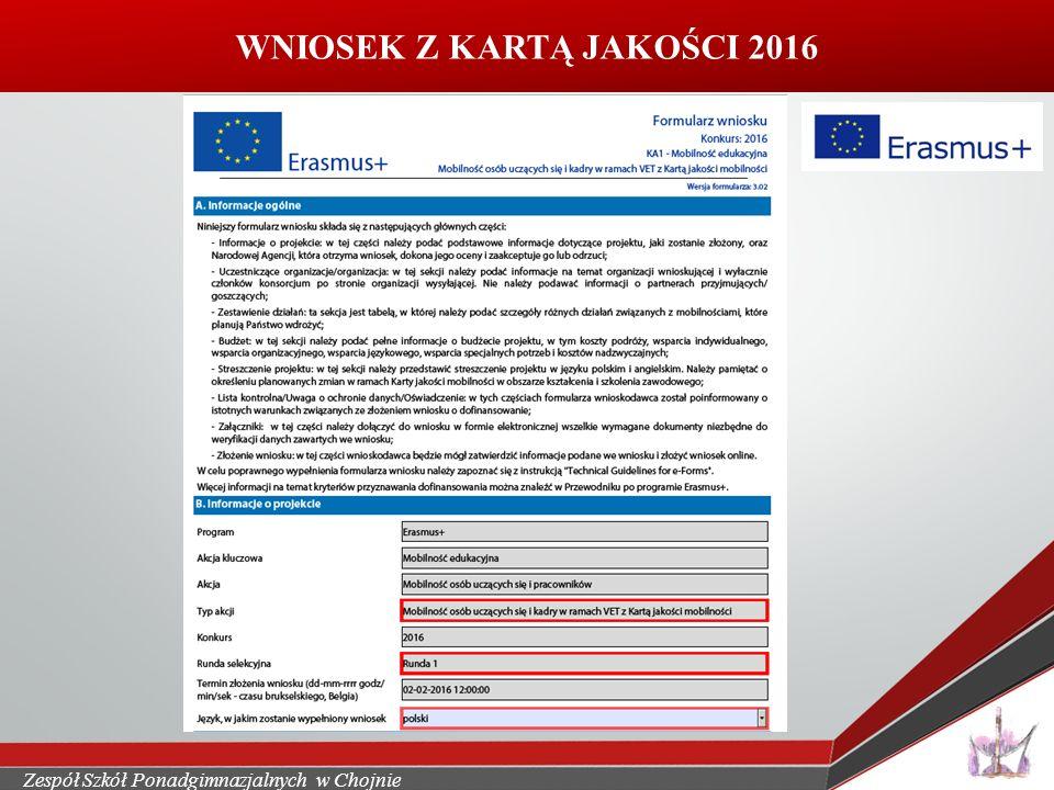 WNIOSEK Z KARTĄ JAKOŚCI 2016 Wkleic skan wniosku Europejskie staże