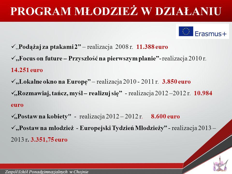 """Zespół Szkół Ponadgimnazjalnych w Chojnie PROGRAM MŁODZIEŻ W DZIAŁANIU """"Podążaj za ptakami 2 – realizacja 2008 r."""