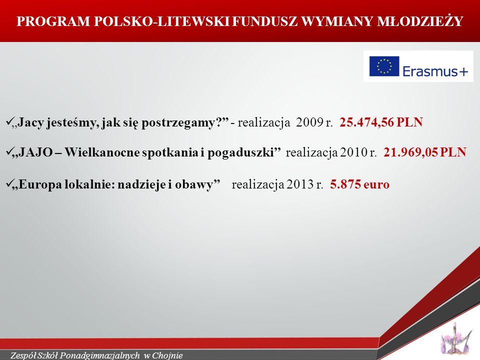 """Zespół Szkół Ponadgimnazjalnych w Chojnie PROGRAM POLSKO-LITEWSKI FUNDUSZ WYMIANY MŁODZIEŻY """"Jacy jesteśmy, jak się postrzegamy - realizacja 2009 r."""