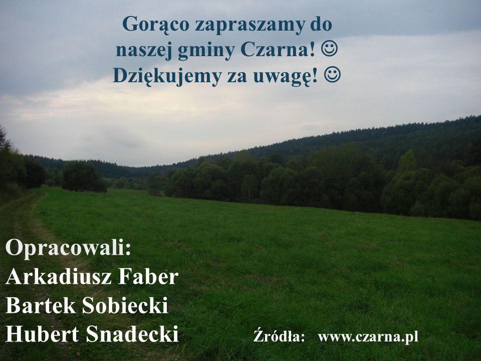 Opracowali: Arkadiusz Faber Bartek Sobiecki Hubert Snadecki Gorąco zapraszamy do naszej gminy Czarna.