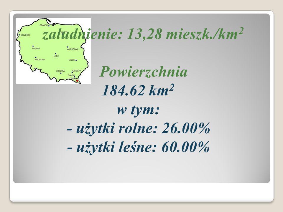 zaludnienie: 13,28 mieszk./km 2 Powierzchnia 184.62 km 2 w tym: - użytki rolne: 26.00% - użytki leśne: 60.00%