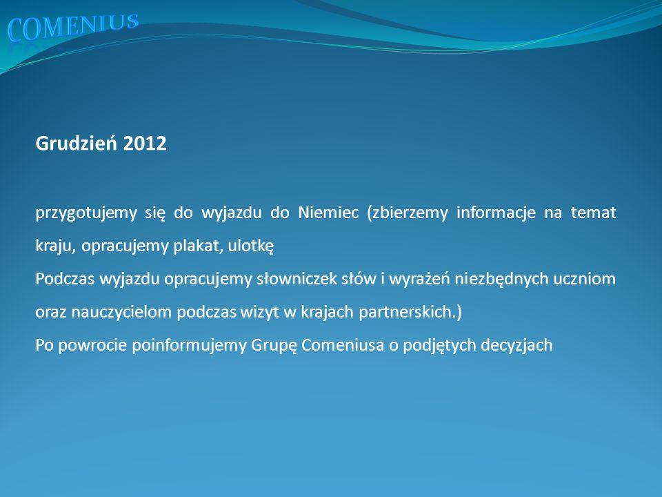Grudzień 2012 przygotujemy się do wyjazdu do Niemiec (zbierzemy informacje na temat kraju, opracujemy plakat, ulotkę Podczas wyjazdu opracujemy słowniczek słów i wyrażeń niezbędnych uczniom oraz nauczycielom podczas wizyt w krajach partnerskich.) Po powrocie poinformujemy Grupę Comeniusa o podjętych decyzjach