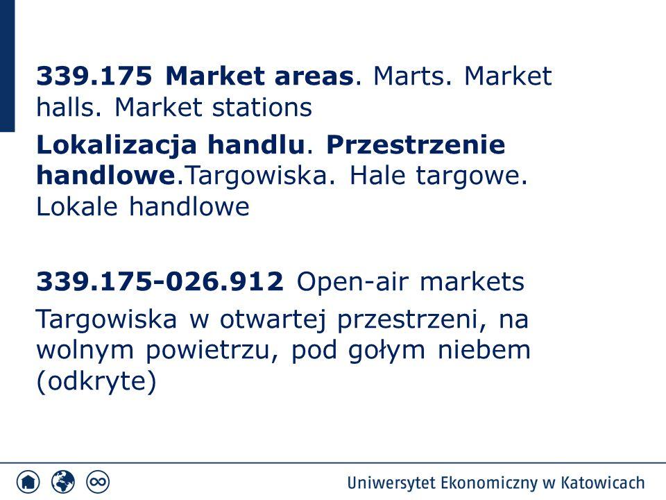 339.175 Market areas. Marts. Market halls. Market stations Lokalizacja handlu.