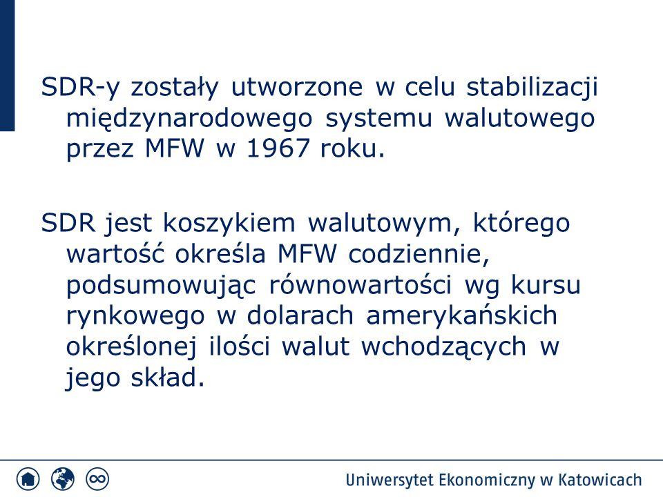 SDR-y zostały utworzone w celu stabilizacji międzynarodowego systemu walutowego przez MFW w 1967 roku. SDR jest koszykiem walutowym, którego wartość o